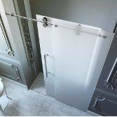 60-inch Frameless Shower Door 3/8'' Frosted Glass Chrome Hardware Left