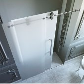 60-inch Frameless Shower Door 3/8'' Frosted Glass Chrome Hardware Right
