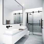 VIGO Elan, Frameless Sliding Shower Door with Clear Glass and Handle in Matte Black, 60 - 64''W x 74''H