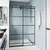 52-56'', Elan Shower Door in Black, 56''W x 3''D x 74''H