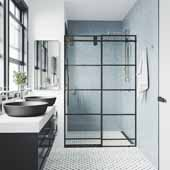 56-60'', Grid Elan Shower Door in Black, 60''W x 3''D x 74''H