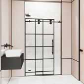 64-68'', Grid Elan Shower Door in Black, 68''W x 3''D x 74''H