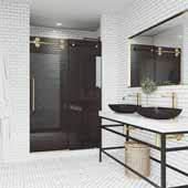 68-72' Elan Shower Door in Gold, 72'W x 3'D x 74'H