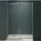 56'' Frameless Shower Door 3/8'' Thick Clear Tempered Glass and Stainless Steel Hardware, 29-3/4'' W Door Size x 74'' Door Height