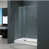 60-inch Frameless Tub door 3/8'' Clear Glass Stainless Steel Hardware