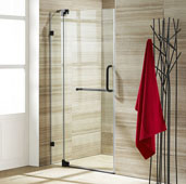 Pirouette Adjustable Frameless Pivot Shower Door in Antique Rubbed Bronze/Clear, Door Height: 72'' H, Fits Shower Opening Widths: 30'' - 36'', More Widths Available