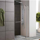 36-Inch Frameless Shower Door, 3/8'' Clear Glass Brushed Nickel Hardware