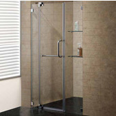 54-Inch Frameless Shower Door, 3/8'' Clear Glass Brushed Nickel Hardware
