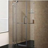 54-Inch Frameless Shower Door, 3/8'' Clear Glass Brushed Nickel Hardware