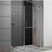 60-Inch Frameless Shower Door, 3/8'' Clear Glass Brushed Nickel Hardware
