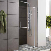 36-Inch Frameless Shower Door, 3/8'' Clear Glass Chrome Hardware
