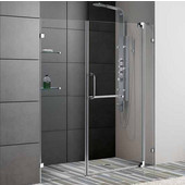 60-Inch Frameless Shower Door, 3/8'' Clear Glass Chrome Hardware