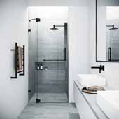 52-74'' Elan Adjustable Shower Door in Matte Black, 52'' W x 3'' D x 74'' H