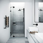 Pirouette Adjustable Frameless Pivot Shower Door in Matte Black, 33-3/4'' W x 71-3/4'' H