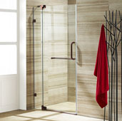 Pirouette Adjustable Frameless Pivot Shower Door in Oil Rubbed Bronze/Clear, Door Height: 72'' H, Fits Shower Opening Widths: 30'' - 36'', More Widths Available