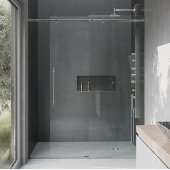 VIGO Luca 60-inch Frameless Shower Door with Clear Glass and Chrome Hardware