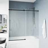 56-60'' W Single Sliding Frameless Tub Door with RollerDisk™ Technology in Multiple Finishes