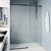 60-74'' Luca Adjustable Shower Door in Black, 60-74''W x 1/16''D x 78-3/4''H