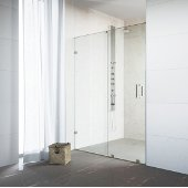 Ryland 60'' Frameless Shower Door with 3/8'' Clear Glass and Stainless Steel, Brushed Finish Hardware