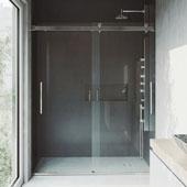 Caspian Adjustable Frameless Sliding Shower Door in Stainless Steel, 73-1/2''H