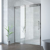 Erie Adjustable Framed Sliding Shower Door in Stainless Steel, 73-1/2''H