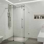 Winslow 48'' W x 36'' D Frameless Sliding Door Shower Screen With Right Tray/Base