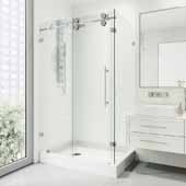 Winslow 48'' W  x 36'' D, Frameless  3/8'' Clear/Chrome Shower Enclosure Without Tray/Base