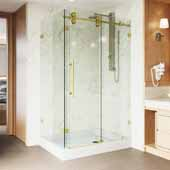 "Winslow 48"" W x 36'' D, Frameless 3/8'' Clear/Chrome Shower Enclosure With Right Tray/Base"