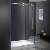 "36'' x 48"" Frameless 3/8'' Clear/Stainless Steel Shower Enclosure with Left Tray/Base"