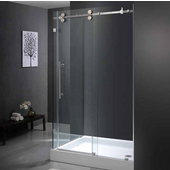 "36'' x 48"" Frameless 3/8'' Clear/Stainless Steel Shower Enclosure with Right Tray/Base"