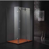 36'' x 60'' Frameless 3/8'' Clear/Stainless Steel Shower Enclosure, Overall: 57-3/4'' W x 34-5/8'' D x 74'' H