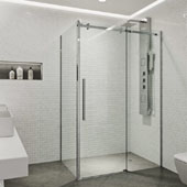 Alameda Frameless Sliding Door Shower Enclosure In Chrome, 74''H