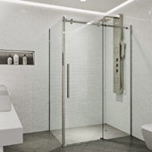Alameda Frameless Sliding Door Shower Enclosure In Stainless Steel, 74''H