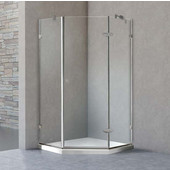 , Frameless Neo-Angle Clear/Chrome Shower Enclosure with Low-Profile Tray/Base, 38 1/8'' W x 38 1/8'' L x 76 3/4'' H