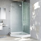 42'' x 42'' Frameless Neo-Angle 3/8'' Clear/Brushed Nickel Shower Enclosure with White Tray/Base