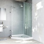 , Frameless Neo-Angle Clear/Brushed Nickel Shower Enclosure with Low-Profile Tray/Base, 42 1/8'' W x 42 1/8'' L x 76 3/4'' H