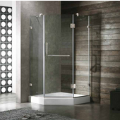 36'' x 36'' Frameless Neo-Angle 3/8'' Clear/Brushed Nickel Shower Enclosure with White Tray/Base