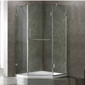 36 X 36 Frameless Neo-Angle 3/8'' Clear/Brushed Nickel Shower Enclosure, Reversible Door Opening With Low-Profile Tray/Base