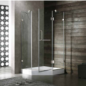 38'' x 38'' Frameless Neo-Angle 3/8'' Clear/Brushed Nickel Shower Enclosure with White Tray/Base