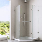 Piedmont Frameless Neo-Angle Shower Enclosure with Low-Profile Base in Clear/Brushed Nickel, 38-1/8'' W x 38-1/8'' D x 76-3/4'' H