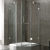 Piedmont Frameless Neo-Angle Shower Enclosure with Low-Profile Base in Clear/Chrome, 38-1/8'' W x 38-1/8'' D x 76-3/4'' H