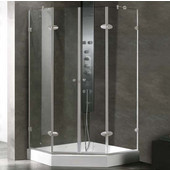 , Frameless Neo-Angle 3/8'' Clear/Brushed Nickel Shower Enclosure with Tray/Base, 42 1/8'' W x 42 1/8'' L x 78 3/4'' H