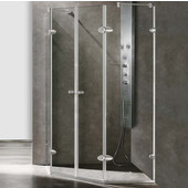 , Frameless Neo-Angle 3/8'' Clear/Brushed Nickel Shower Enclosure with, 45 5/8'' W x 45 5/8'' L x 73 3/8'' H