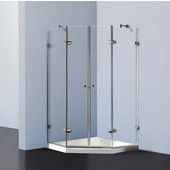, Frameless Neo-Angle 3/8'' Clear/Chrome Shower Enclosure with Low-Profile Tray/Base, 42 1/8'' W x 42 1/8'' L x 76 3/4'' H