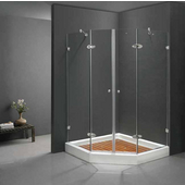 47-5/8'' x 47-5/8'' Frameless Neo-Angle 3/8'' Clear/Chrome Shower Enclosure with Tray/Base