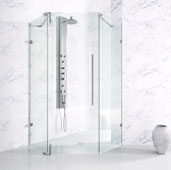 Ontario Adjustable 3/8'' Tempered Glass Frameless Neo-Angle Shower Enclosure, 34'' W x 34'' D x 74'' H, Chrome