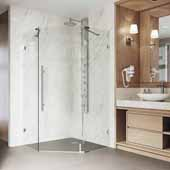 VIGO ''Ontario'' Adjustable Frameless Neo-Angle Shower Enclosure in Stainless Steel, 34'' W x 34'' D x 74'' H