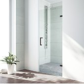 VIGO SoHo 26'' Adjustable Frameless Shower Door with Clear Glass and Antique Rubbed Bronze Hardware