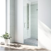 VIGO SoHo 28'' Adjustable Frameless Shower Door with Clear Glass and Stainless Steel Hardware