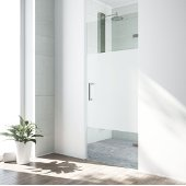 VIGO SoHo 28'' Adjustable Frameless Shower Door with Privacy Panel Glass and Stainless Steel Hardware